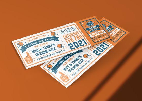 custom football tickets orange theme