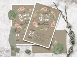 flat bridal showers invitations