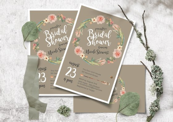 flat bridal showers invitations