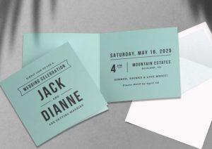 custom light blue folded wedding invitations