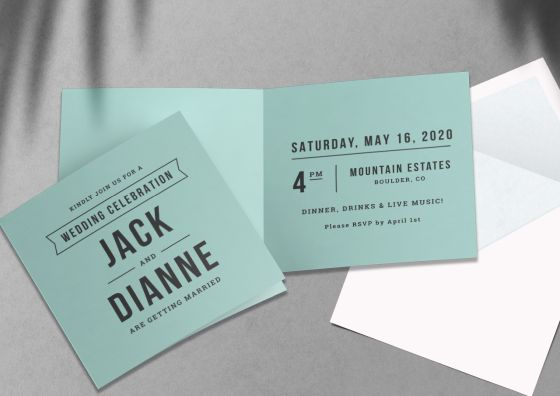 custom light blue folded wedding invitations