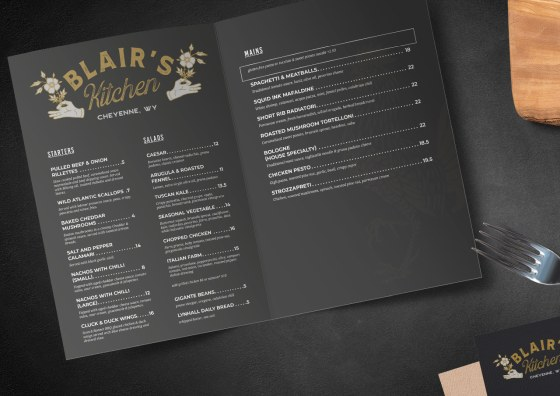 half fold menu dark