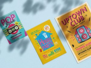 3 custom bright colored custom flyers
