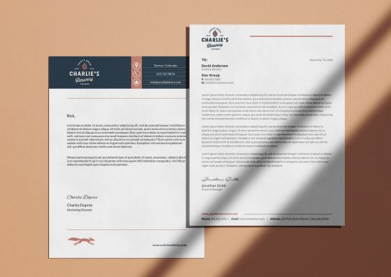custom brewery letterhead light apricot background