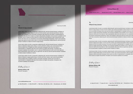 custom letterhead pink header