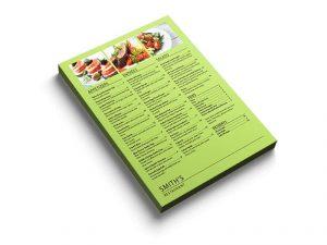 flat menu custom print