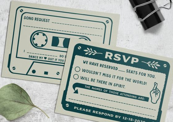 RSVP cassette tape design card
