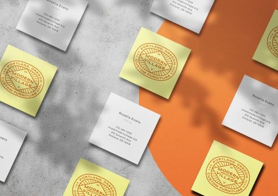 square business cards yellow white