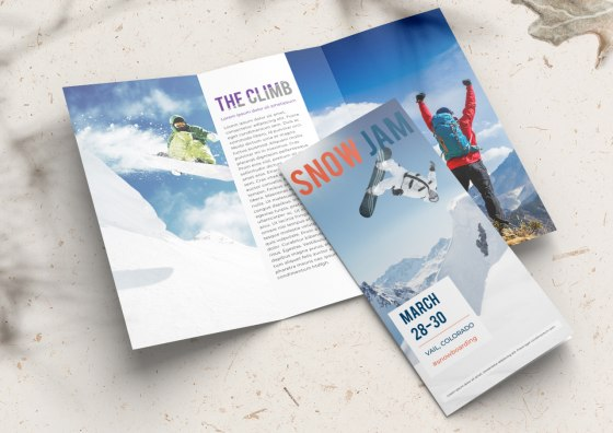tri fold brochures snow jam images