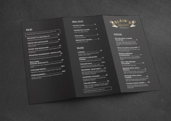 tri fold menu dark