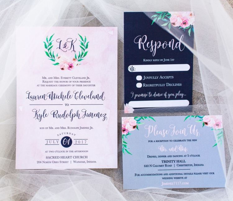 multiple color wedding invitations