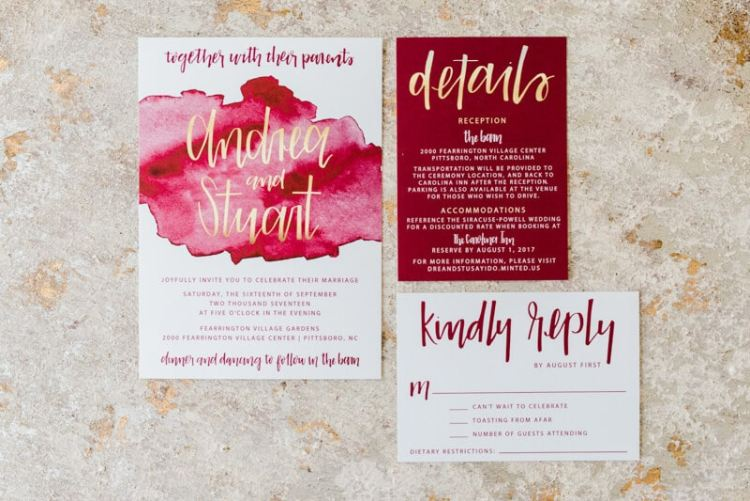 red theme wedding invitations