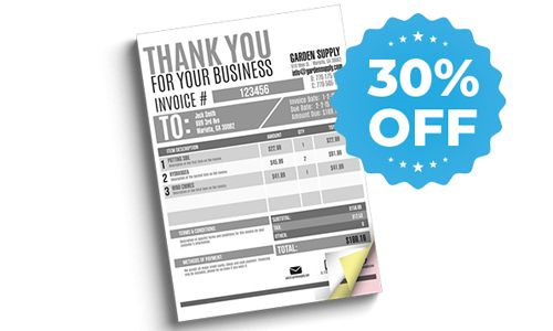 30% off sale for carbonless forms