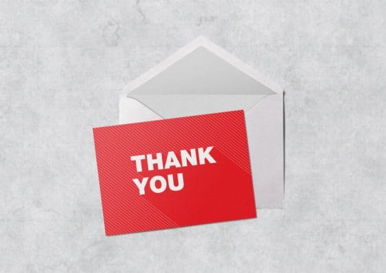 flat thank you cards red