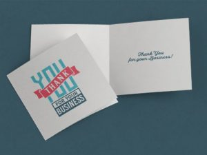 folded thank you cards dark blue background