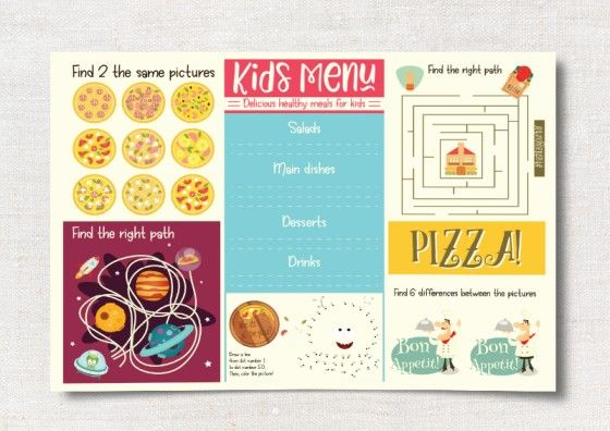 custom placemat kids menu