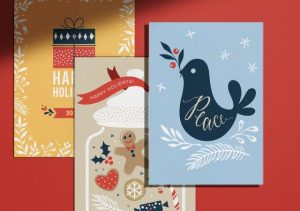 different holiday festivities flat holiday cards