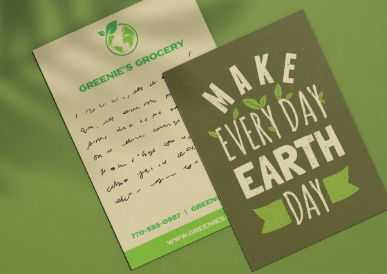 green earth day flat holiday cards