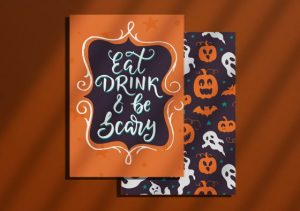 halloween themed flat holiday cards