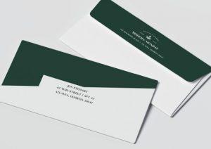 converted envelopes dark green