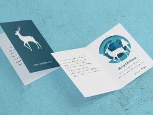 raindeer design folded holiday card