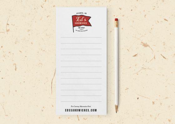 custom sandwich shop notepad