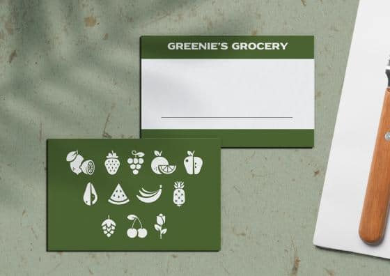 place cards green groceries