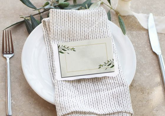 place cards on white plate