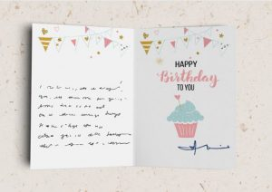 happy birthday folded greeting card