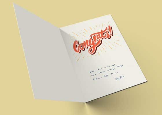 congratulation folded greeting card