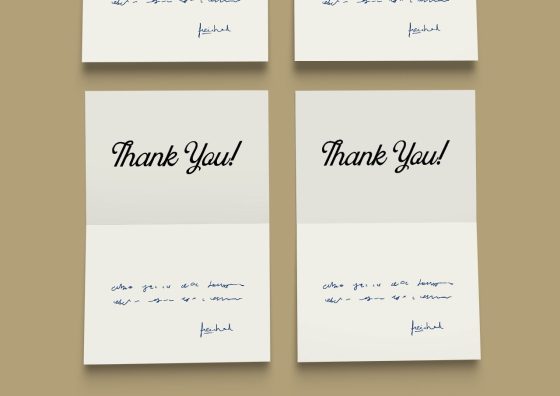 thank you folded greeting card