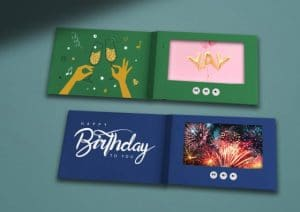 green and blue video greeting cards