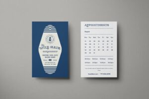 appointment cards blue and white