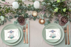 place cards on plates